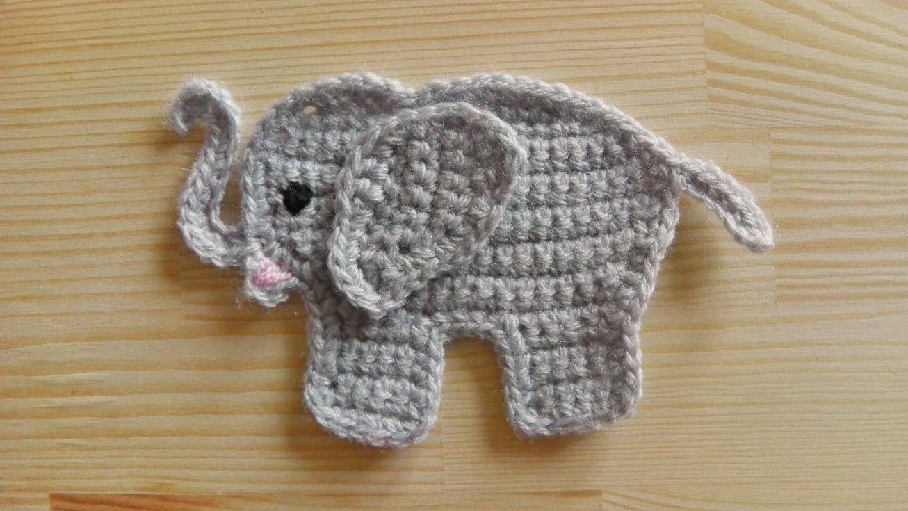 Elefant Aufnäher häkeln