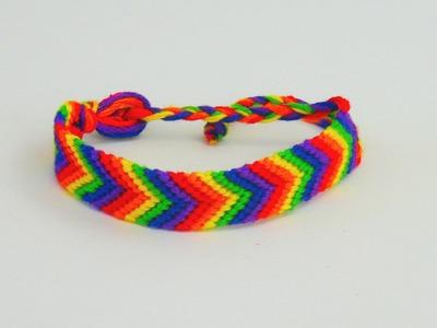 Armband knüpfen. Freundschaftsarmband mit Regenbogen Muster Baumwollarmband Pfeilmuster | deutsch