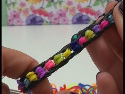 DIY Loom Bands mit Perlen Anleitung mit GABEL - Armband mit falschen Perlen rainbow pearl bracelet