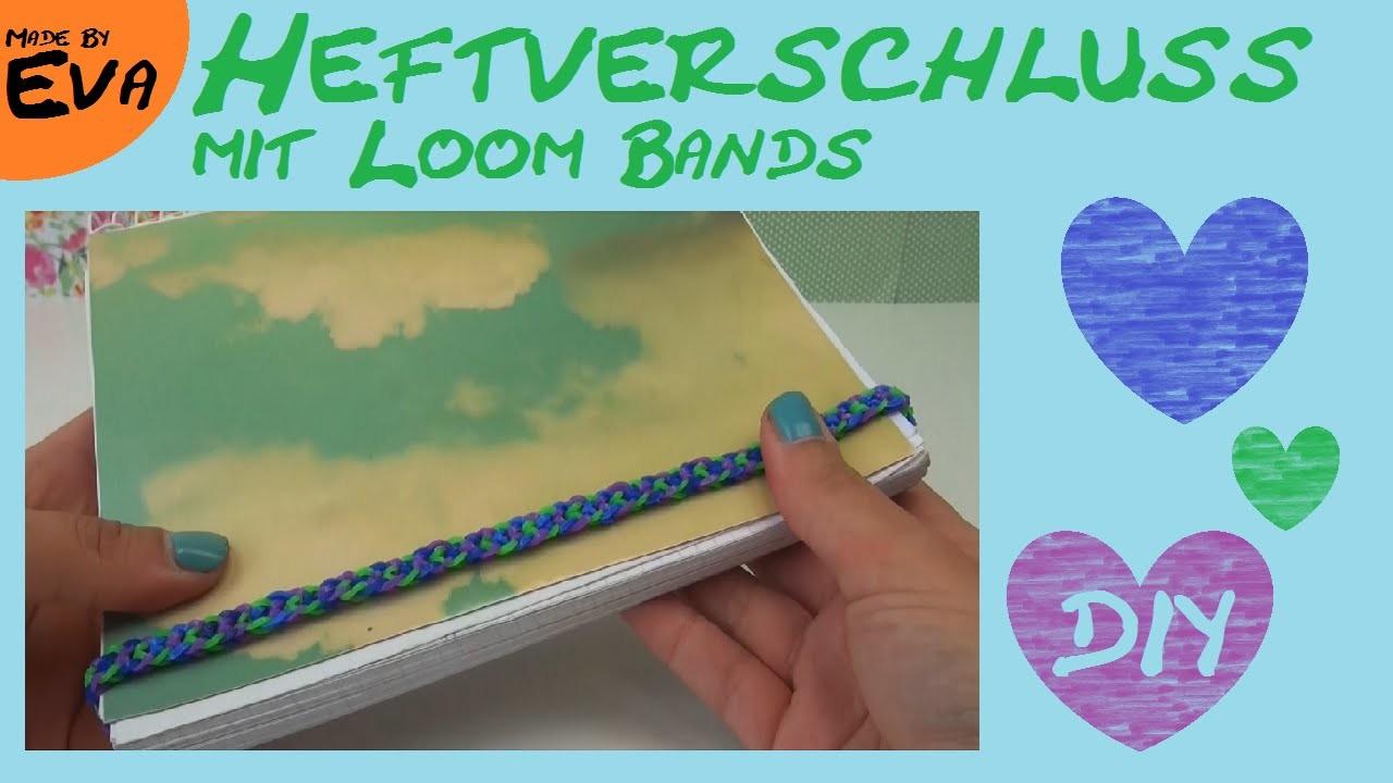 DIY Ordner - Verschluss. Heftverschluss aus Rainbow Loom Bands