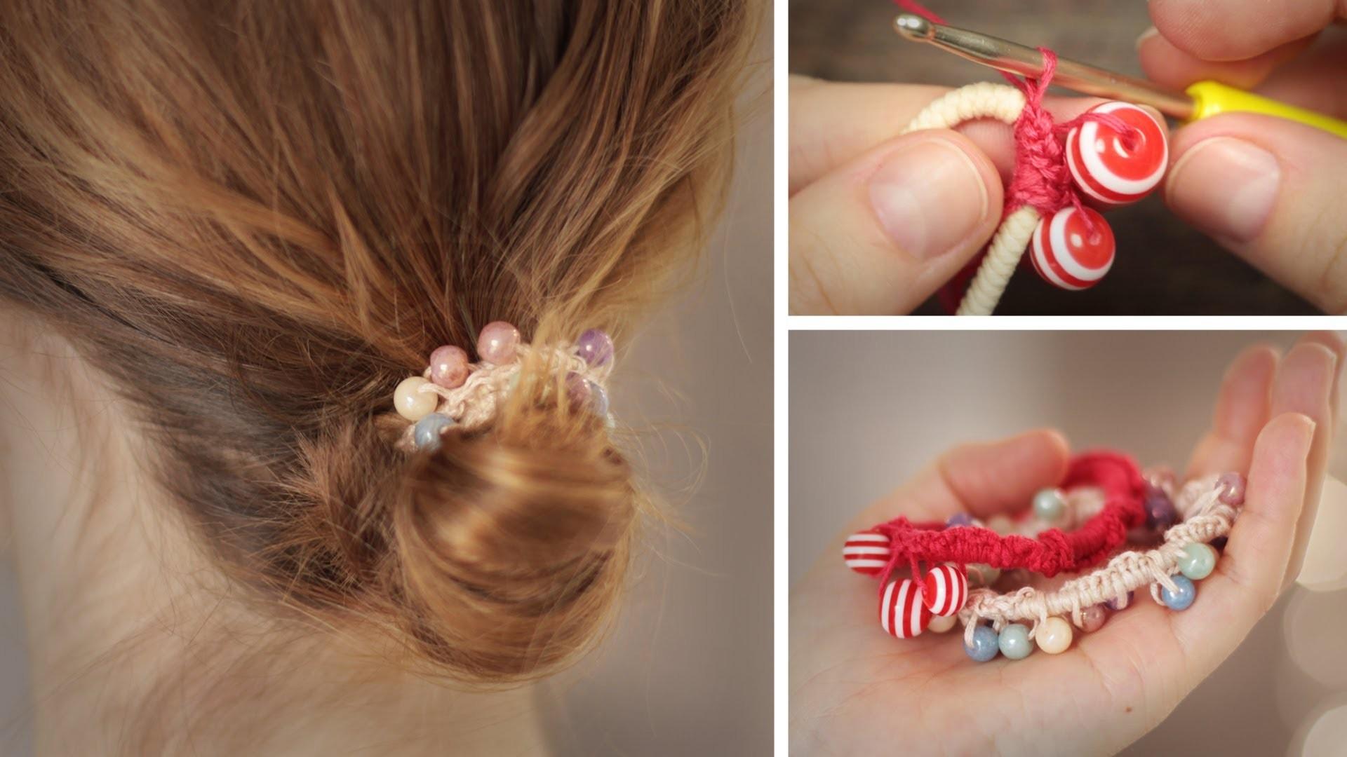 DIY Perlen-Haargummi - einfach verschönern - Häkeln