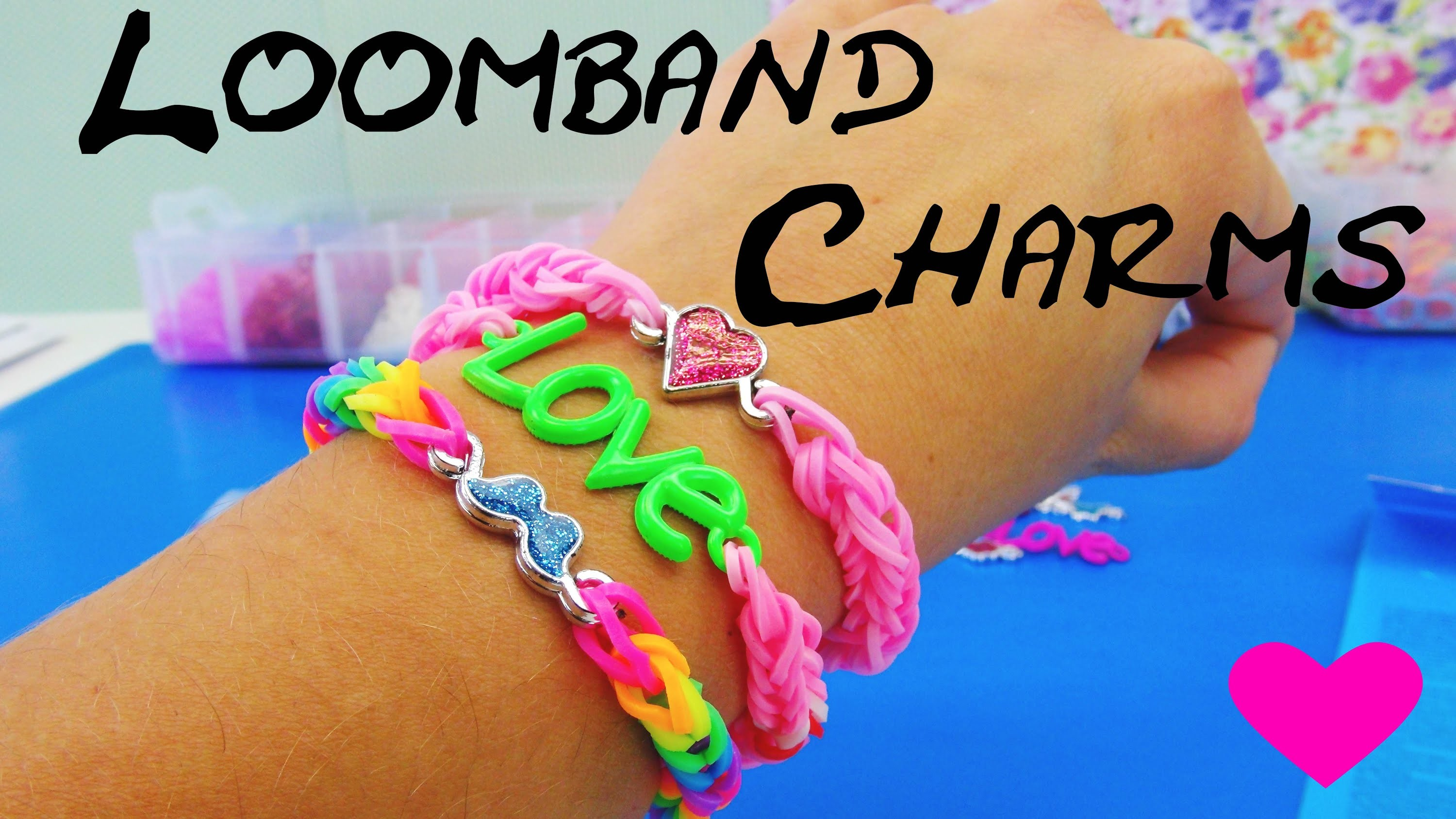 Loom Bands Charms deutsch. LOVE Anhänger Fishgräten-Armband deutsch. Love Bracelet Tutorial