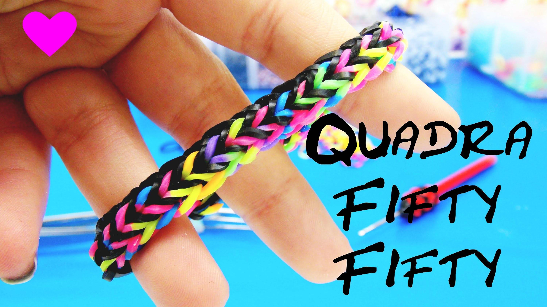 Loom Bands Quadra Fishtail Fifty Fifty Loom Bracelet. Armband mit Gabel. Fork Loom Band Tutorial