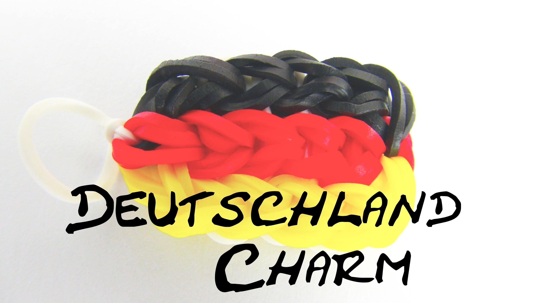 Rainbow Loom Charm German Flag. Deutschland Flagge auf dem Rainbow Loom Schlüsselanhänger Anleitung