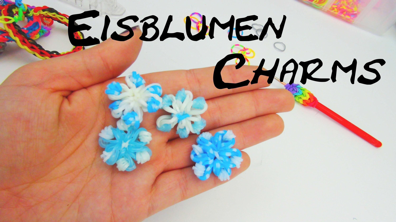 Rainbow Loom Eisblume Anhänger. Ice Flower Charm Loom Band with CROCHET Hook | deutsch