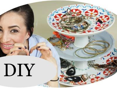 Etagere DIY: Coole SCHMUCK-Aufbewahrung mit Teller Upcycling