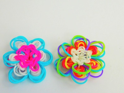 Flower Charm Rainbow Loom Blumen Anhänger. Frühlingsblume mit Häkelnadel und Loom Board | deutsch