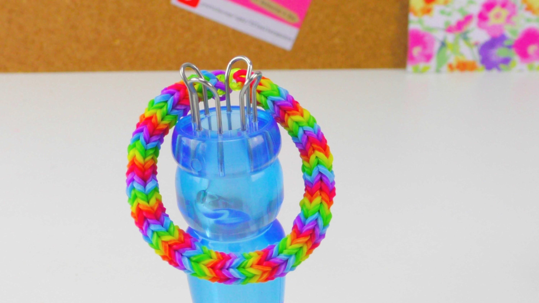 Loom Bands Quadra Fishtail Bracelet mit Strickliesel. Quadra Armband How To | deutsch