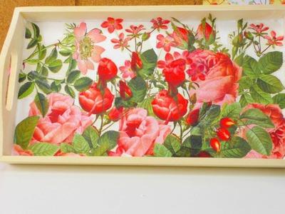 Frühstückstablett DIY. Tablett gestalten mit Rosen Muster. mit Serviettentechnik | deutsch