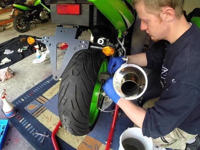 Motorrad Kawasaki ZX636A Wechsel Bremsflüssigkeit Hinten ohne ABS DIY HowTo Tutorial