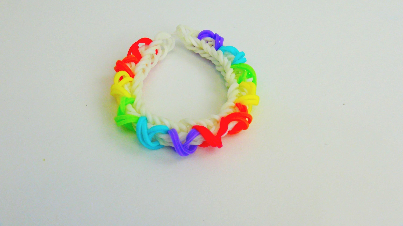 Rainbow Loom Fishtail Armband. Bracelet mit X Muster auf dem MONSTER TAIL Anleitung | deutsch