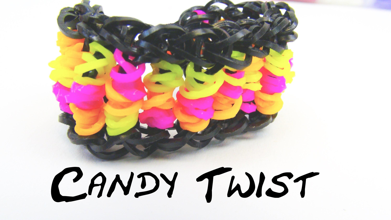 Candy Twist Rainbow Loom Bracelet. Armband Loom Bands Twisted Braclet Tutorial | deutsch