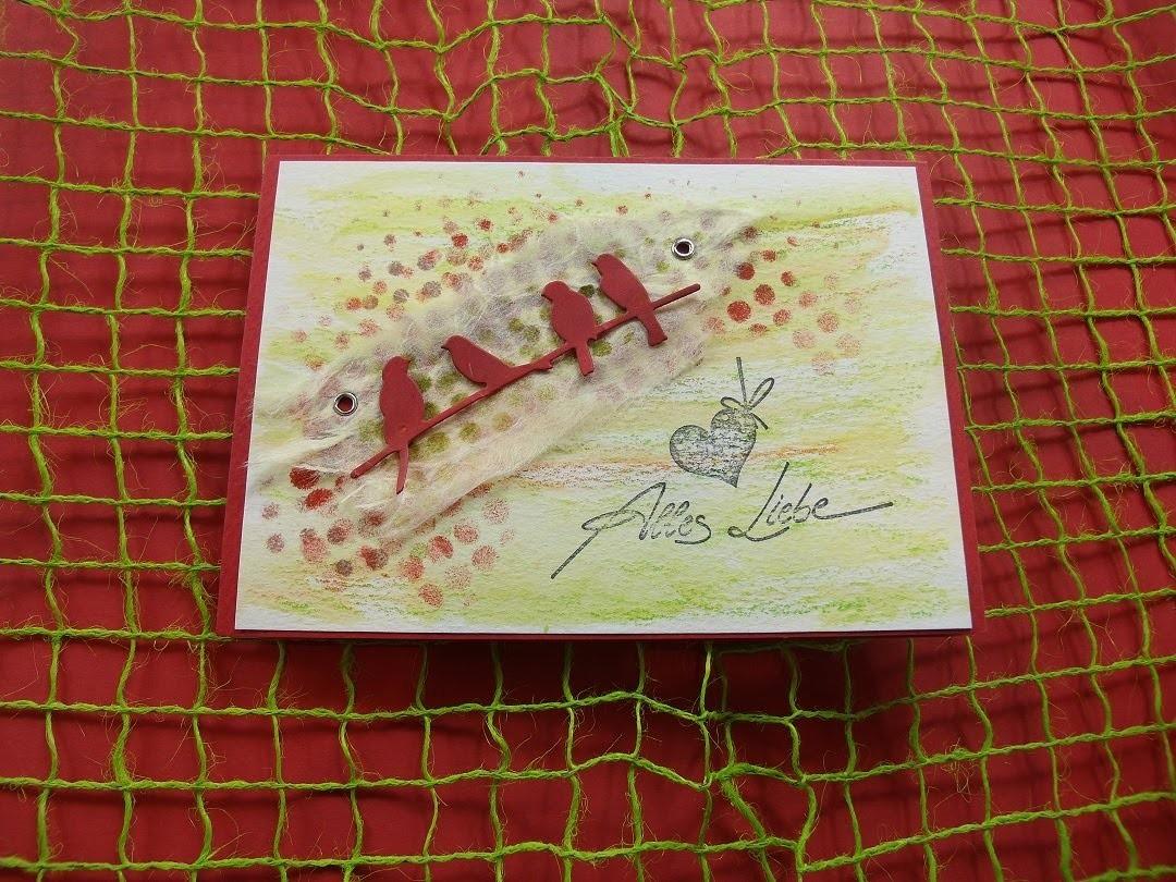 Grußkarte basteln + Hintergrundpapier selber gestalten cardmaking