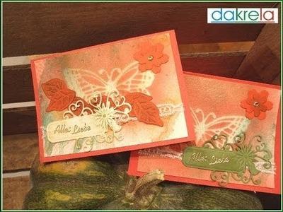 Karte mit Schmetterlinge basteln mit DIY Hintergrund und mit Spellbinders S5-086