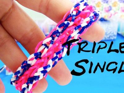 Rainbow loom triple single deutsch Armband mit Gabel Häkelnadel How to make a triple single bracelet