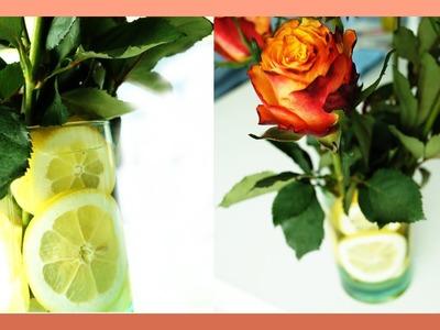 Zitronen Dekoration in der Vase mit Rosen