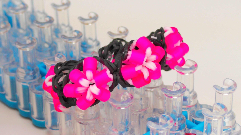 Bügelperlen Blumen Loom Band Armband. Flower Bracelet with Pearls DIY Perlenarmband | deutsch
