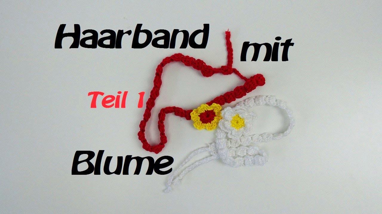 Haarband häkeln mit Blume - Stirnband. Kettenmuster - Teil 1.2