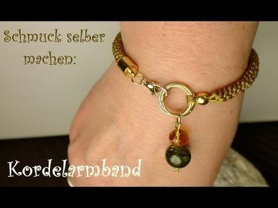 Schmuck selber machen: Kordel Armband mit Charm