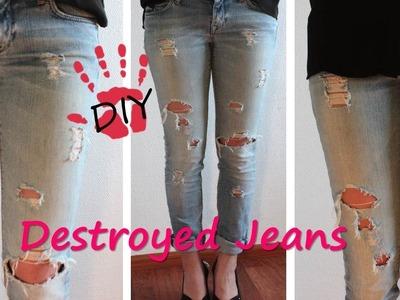 DIY- Destroyed Jeans. Boyfriend Jeans. Used Look