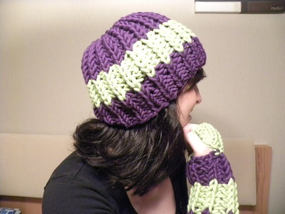 Stricken - Mütze Patentmuster aus HATNUT cool - mit 2 Farben