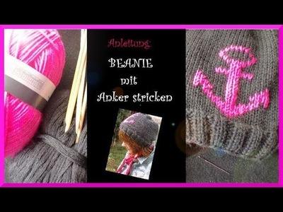 Beanie Mütze stricken + gesticktem Anker