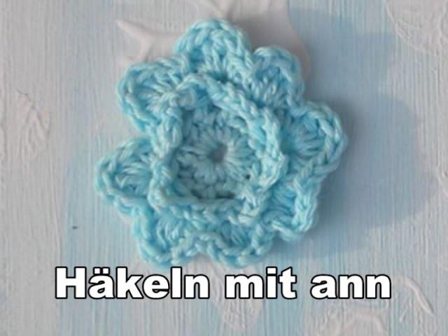 Eine Schöne Blaue Blüte Häkeln Anfänger