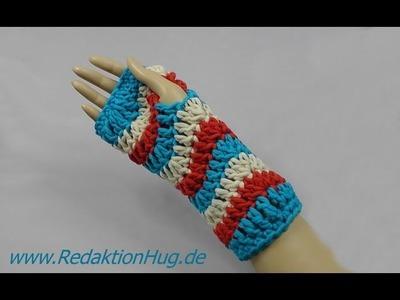 Häkeln - Linkshänder - Armstulpen im Zackenmuster aus hatnut XL 55 von Pro Lana