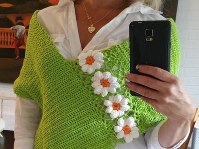 Poncho mit  Blumen Granny TEIL 1 # Häkeln mit Yve