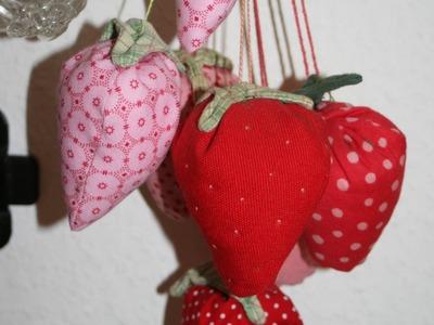 Erdbeeren aus Stoff selbernähen