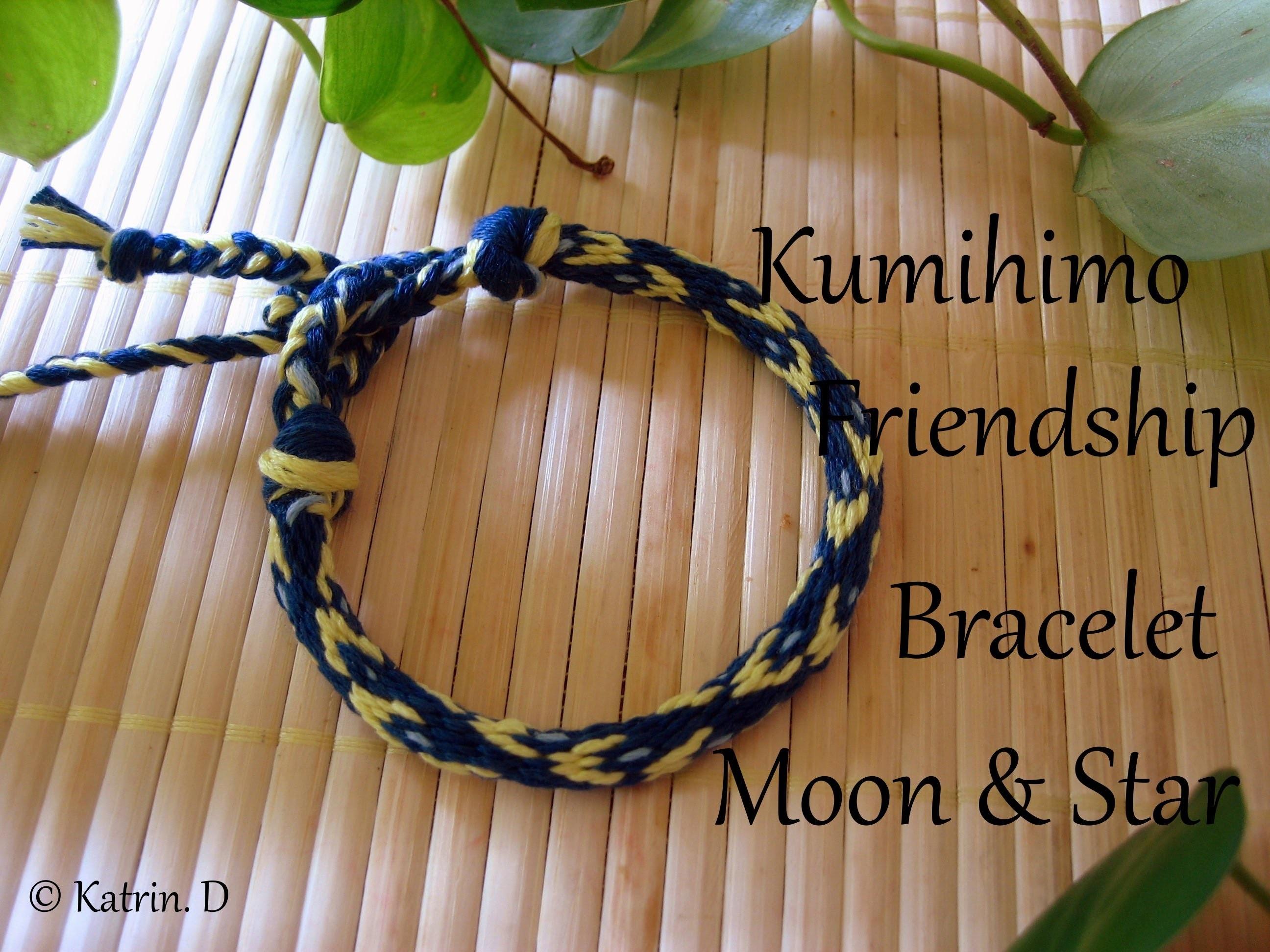 Kumihimo Friendship Bracelet Moon & Star