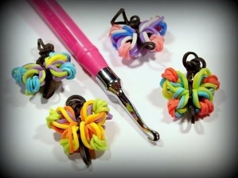 Loom Bands ohne Rainbow Loom deutsch Schmetterling, Butterfly mit Hook