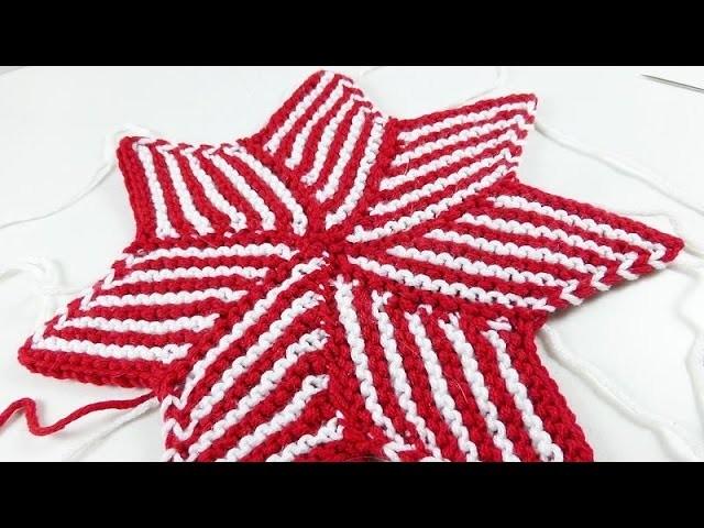 Nadelspiel Adventskalender 2014 * 5. Dezember * Gestrickter Stern aus Hexenecken