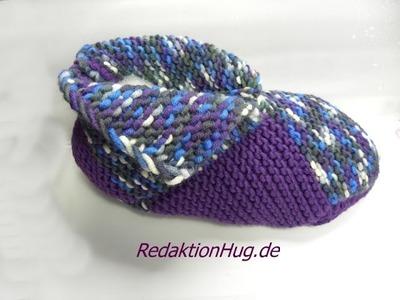Stricken - Puschen - Patchwork-Schuhe -  hatnut XL 55 und fresh - Veronika Hug