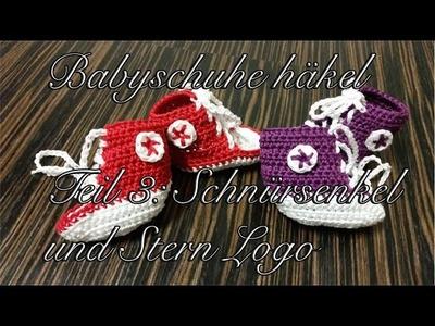 Babyschuhe häkeln - Kinderschuhe häkeln - Teil 3: Schnürsenkel und Stern Logo