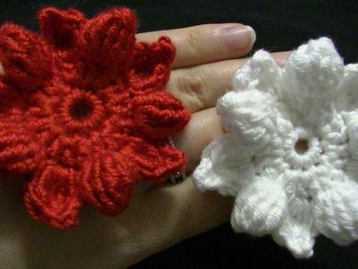 Blume häkeln - 10 Blätter - 3D Blume - ähnlich wie Weihnachtsstern - auch als Weihnachtsdeko