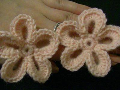 Blume häkeln - einfach und schnell - 5 Blätter - 3D Blume
