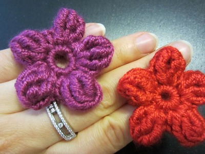 Blume häkeln - einfach und schnell - 5 Blätter - auch als 3D Blume möglich