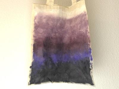 DIY Tasche, Stoffbeutel mit Galaxie Farbübergang. eigenen Beutel mit Farbverläufen gestaltet