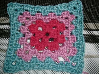 Ihr 3. Quadrat für ihre Patchwork Decke Häkeln (3 Farben)