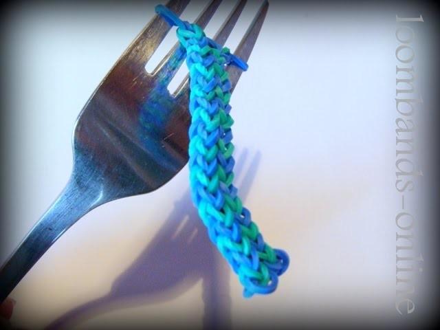 Loom Bands Deutsch - Hexafish Armband mit einer Gabel-Rainbow Loom