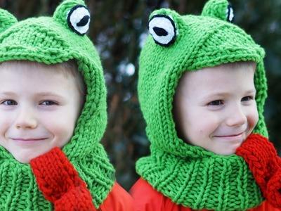 MÜTZE für Kinder stricken TEIL 1 - Kapuzenschal Froschmütze Anfänger einfach