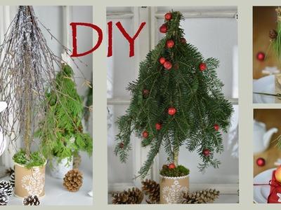 DIY- Winterliche Dekobäumchen aus Naturmaterial im Shabby Chic oder Landhausstil