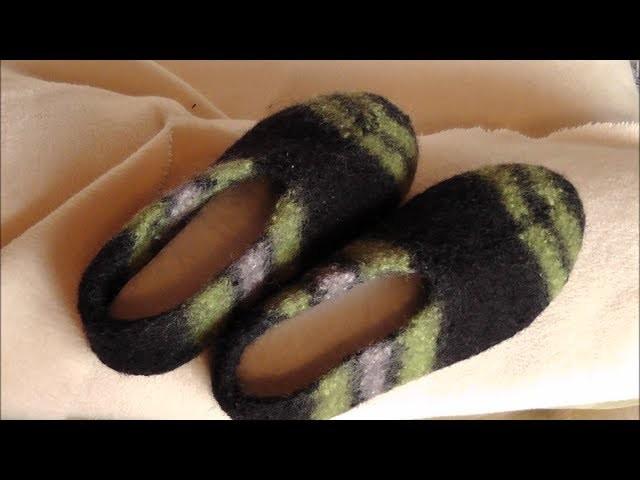 hausschuhe aus filzwolle stricken und filzen teil 2 3. Black Bedroom Furniture Sets. Home Design Ideas