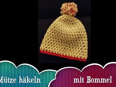 Mütze Häkeln mit Bommel für Anfänger