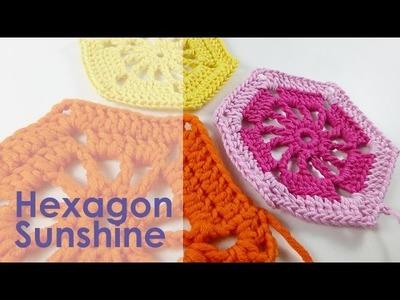 "Nadelspiel Adventskalender 2014 * 16. Dezember * Häkeln Hexagon ""Sunshine"""