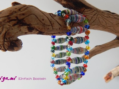 Stretch-Armband mit Papierperlen. Stretch Bracelet with paper beads