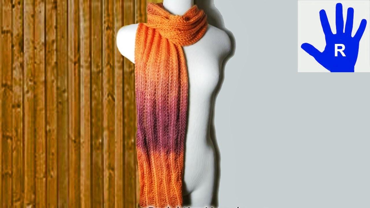 Stricken - Schal im Ajourmuster mit Zacken aus Ocean von Pro Lana