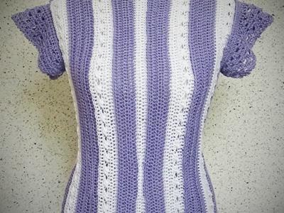 Häkeln | Oberteil | Pullunder - Purple White  Gr.: 36.38| Rechtshänder