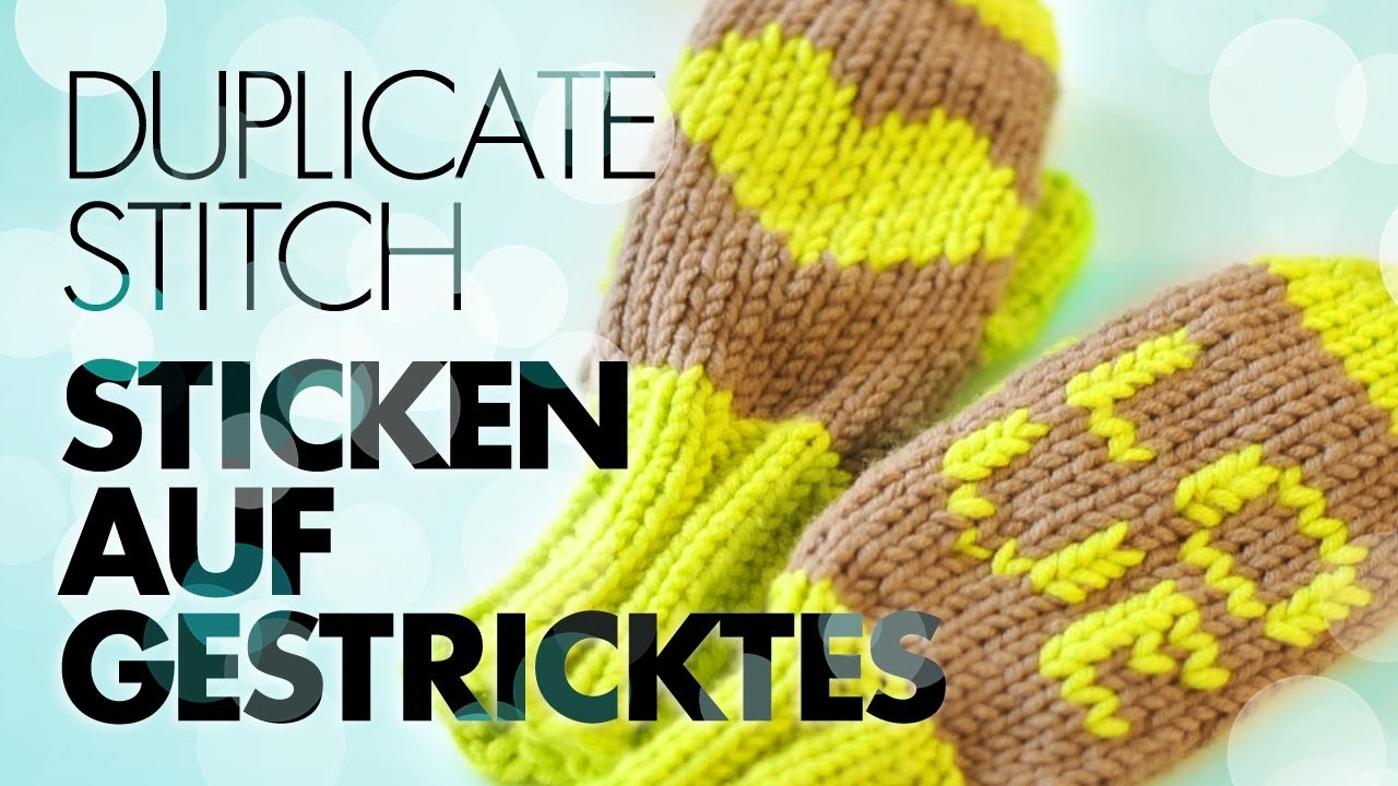 Herz sticken auf Gestricktes. Duplicate Stitch. Stickereien